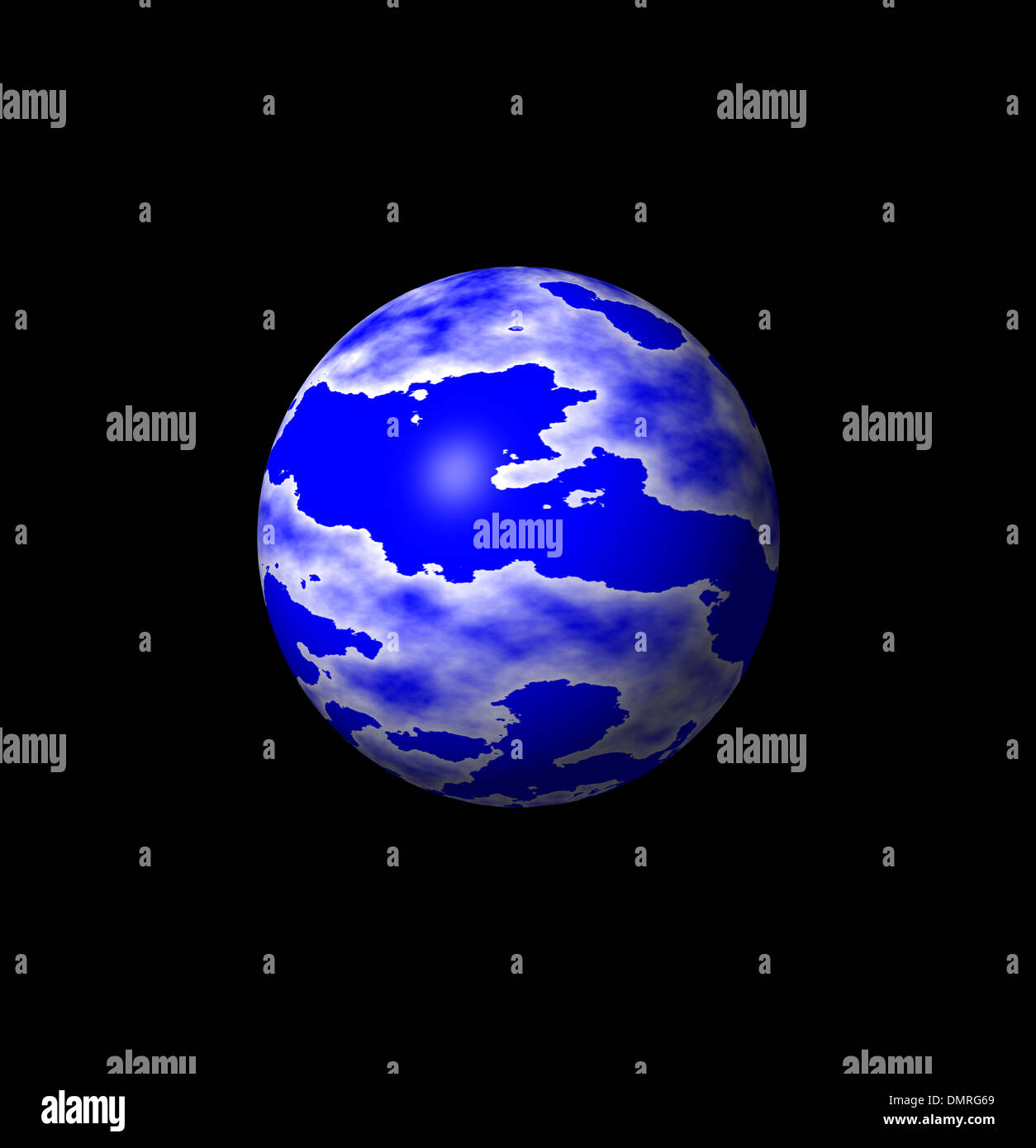 3-D blue and white globe - Stock Image