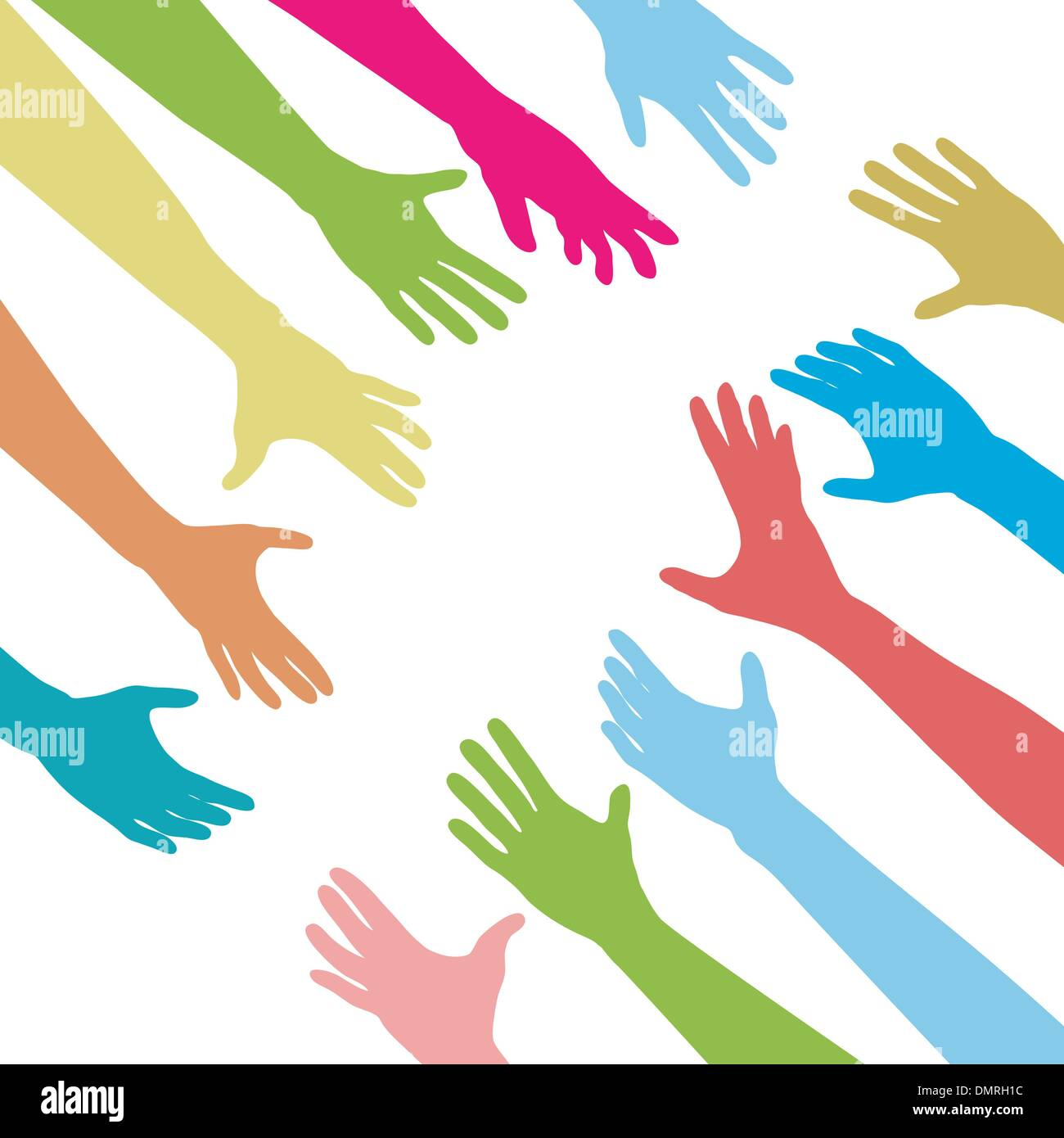 People hands reach out across unite connect - Stock Image