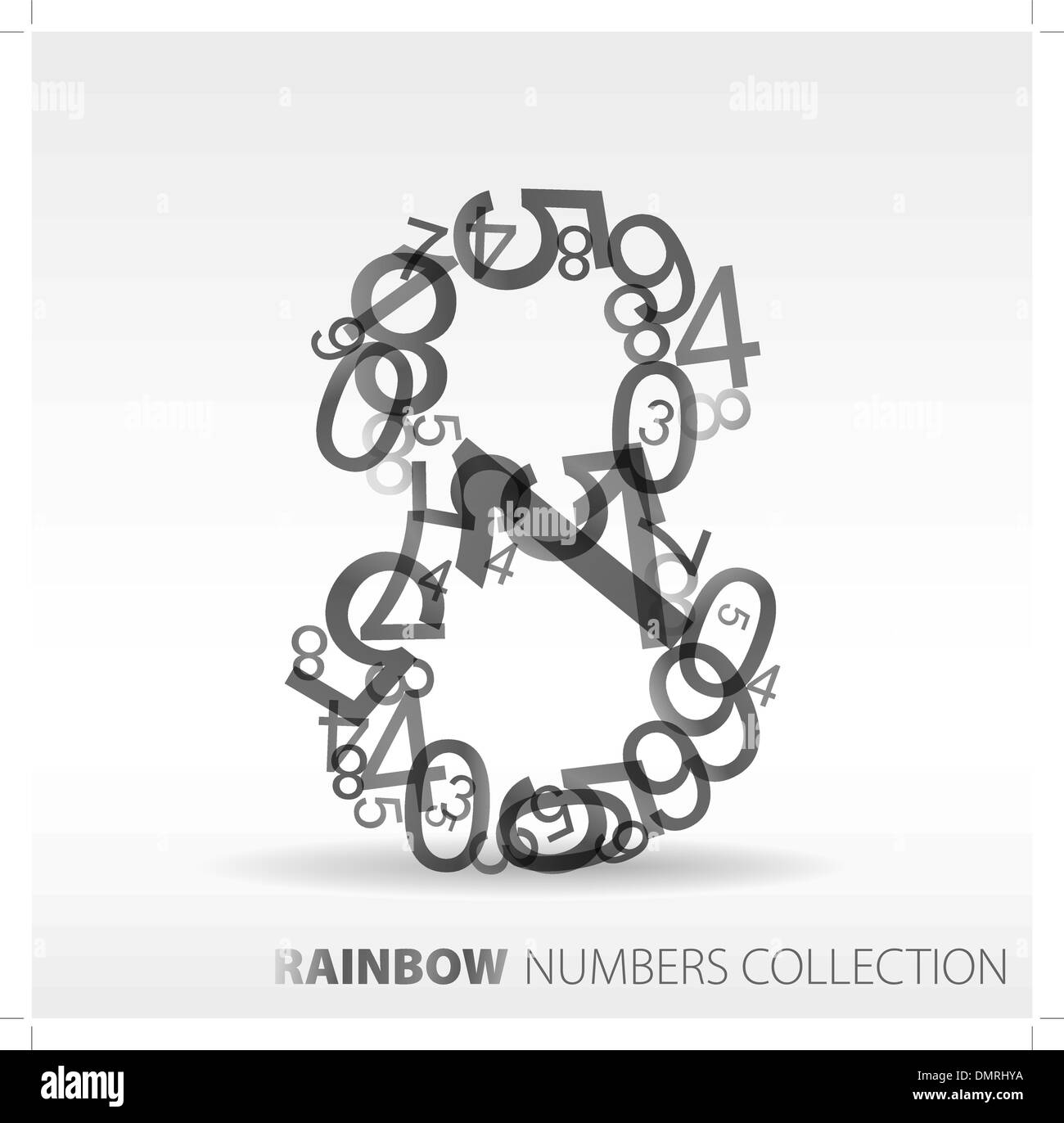 Number eight made from various numbers Stock Vector