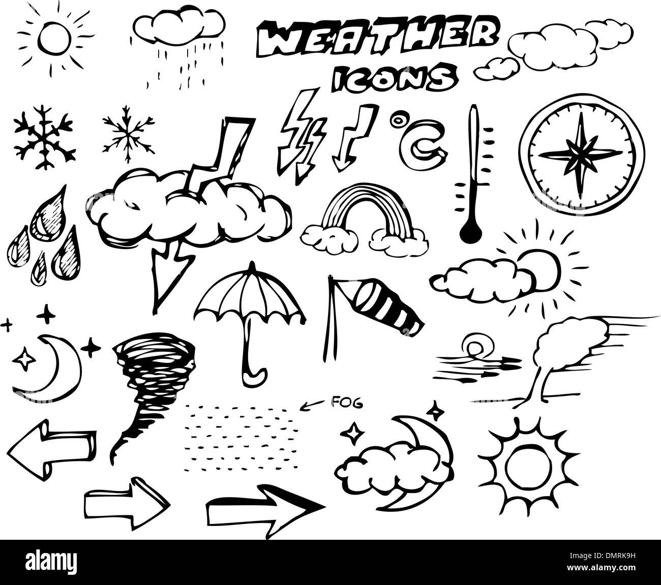 doodle weather set cloud thunder stock photos doodle weather set Greenhouse Tile set of weather hand drawing icons stock image
