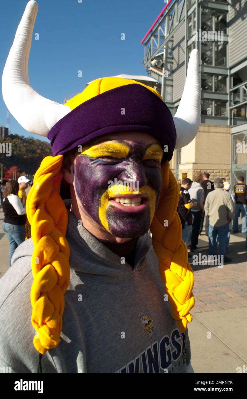 A Minnesota Vikings fan in costume outside of Heinz field in Pittsburgh PA prior to a game against the Pittsburgh Steelers fan. Later in the day Pittsburgh ... & A Minnesota Vikings fan in costume outside of Heinz field in Stock ...