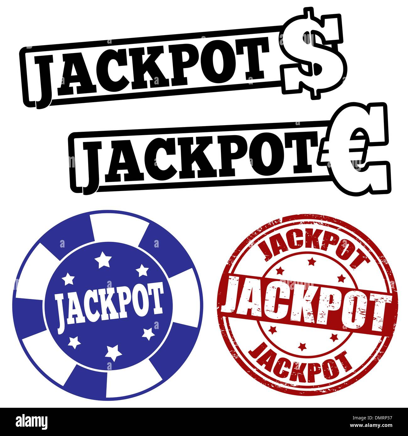 Set of jackpot stamps - Stock Image