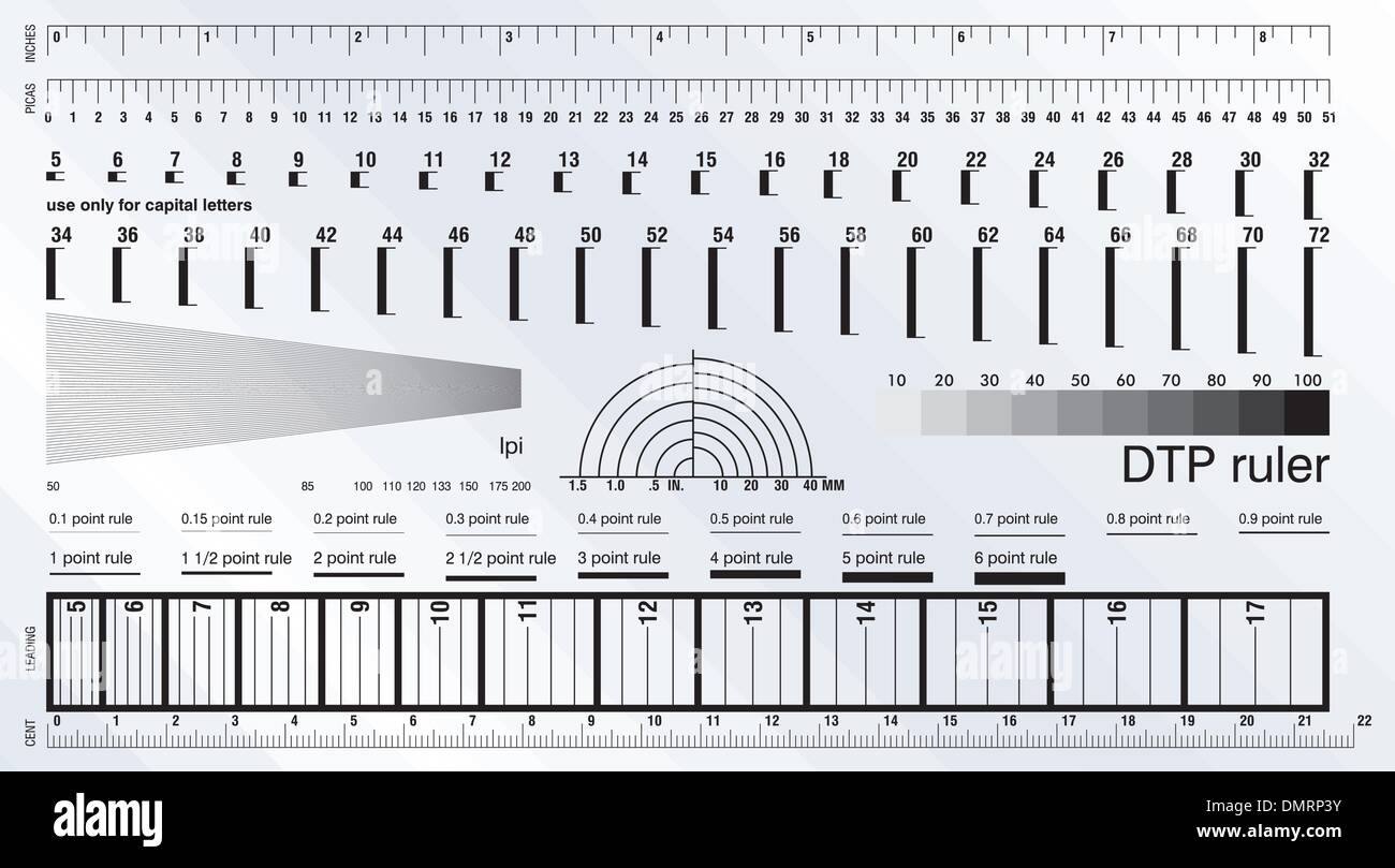 Desktop publishing measure ruler - Stock Vector