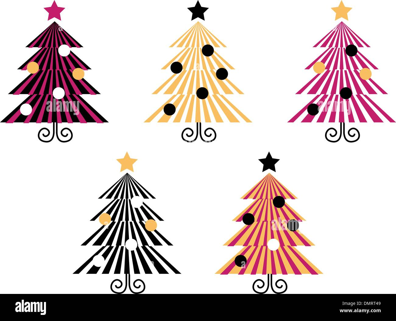 Retro Christmas Trees collection isolate on white - Stock Image