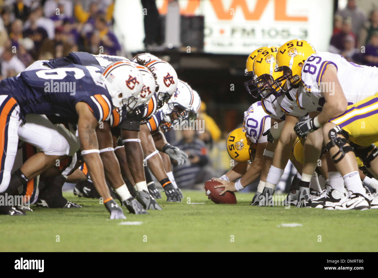 LSU and Auburn faceoff during the game between the Auburn Tigers and the LSU Tigers at Tiger Stadium in Baton Rouge, LA. (Credit Image: © Matt Lange/Southcreek Global/ZUMApress.com) - Stock Image