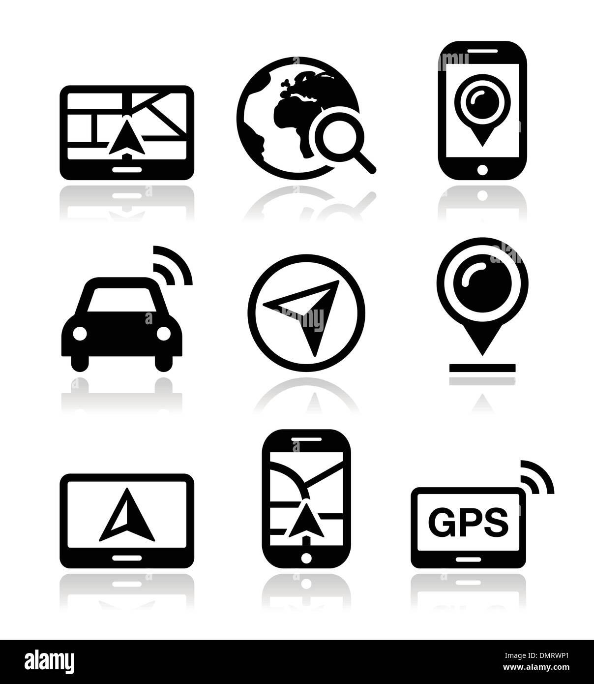 GPS, navigation travel vector icons set - Stock Image