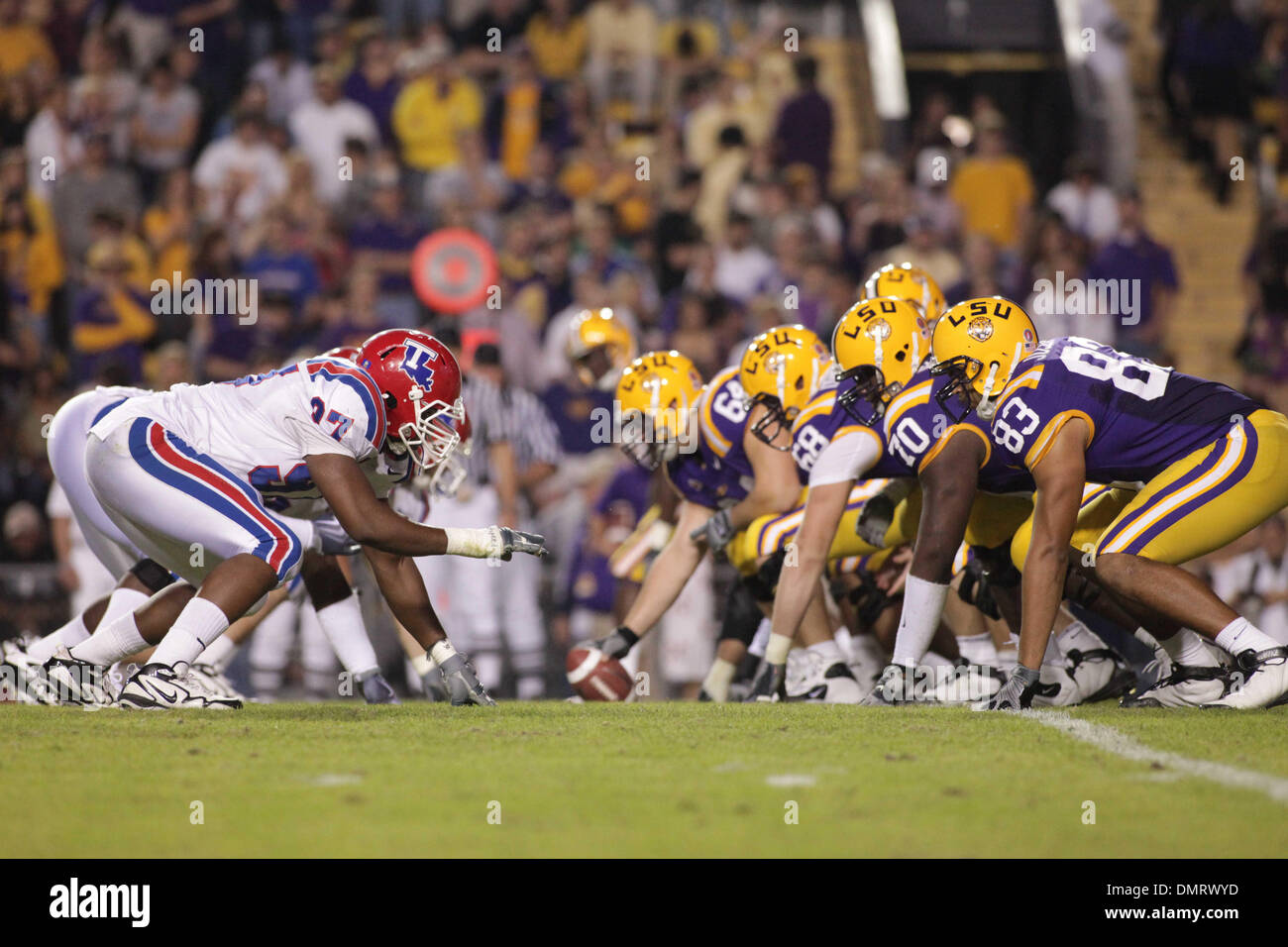 Louisiana Tech and LSU faceoff during the game at Tiger Stadium in Baton Rouge, Louisiana.  LSU won the contest 24-16. (Credit Image: © Matt Lange/Southcreek Global/ZUMApress.com) - Stock Image