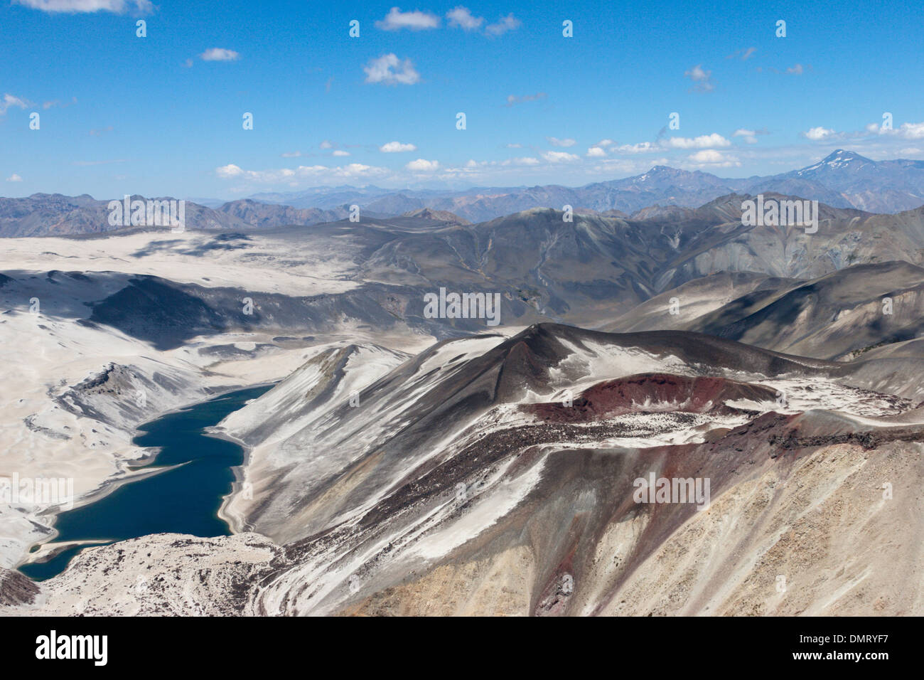 volcanco vent lava flow crater lake Andes Chile Stock Photo