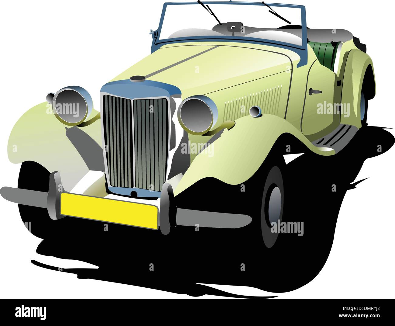 Seventy years old  yellow cabriolet with opened roof. Vector ill - Stock Vector