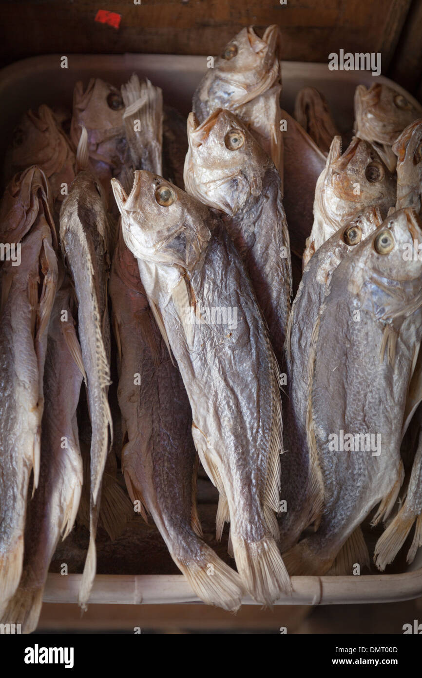 Sun-dried and salted fish on the Chinese food market,Grant Street,China town,San Francisco - Stock Image