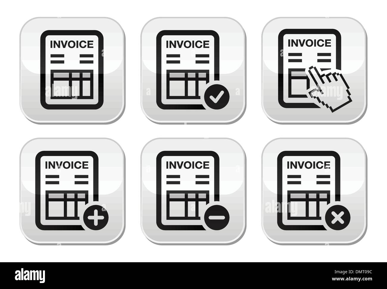 Invoice, finance vector buttons set - Stock Vector