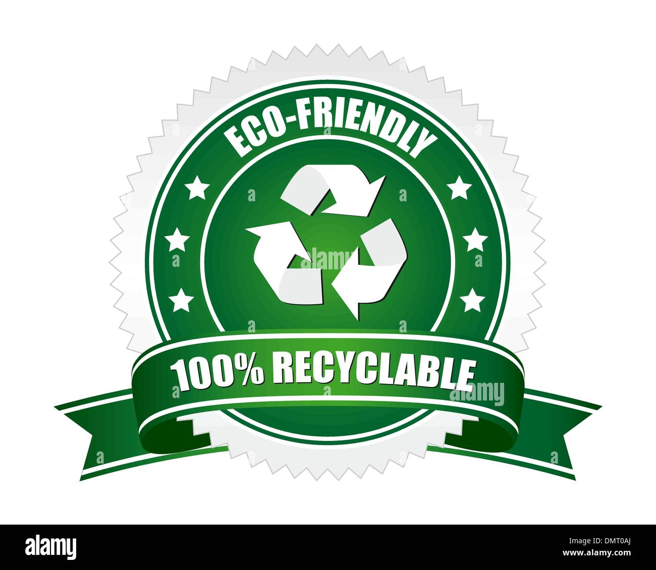 100% recyclable sign - Stock Image