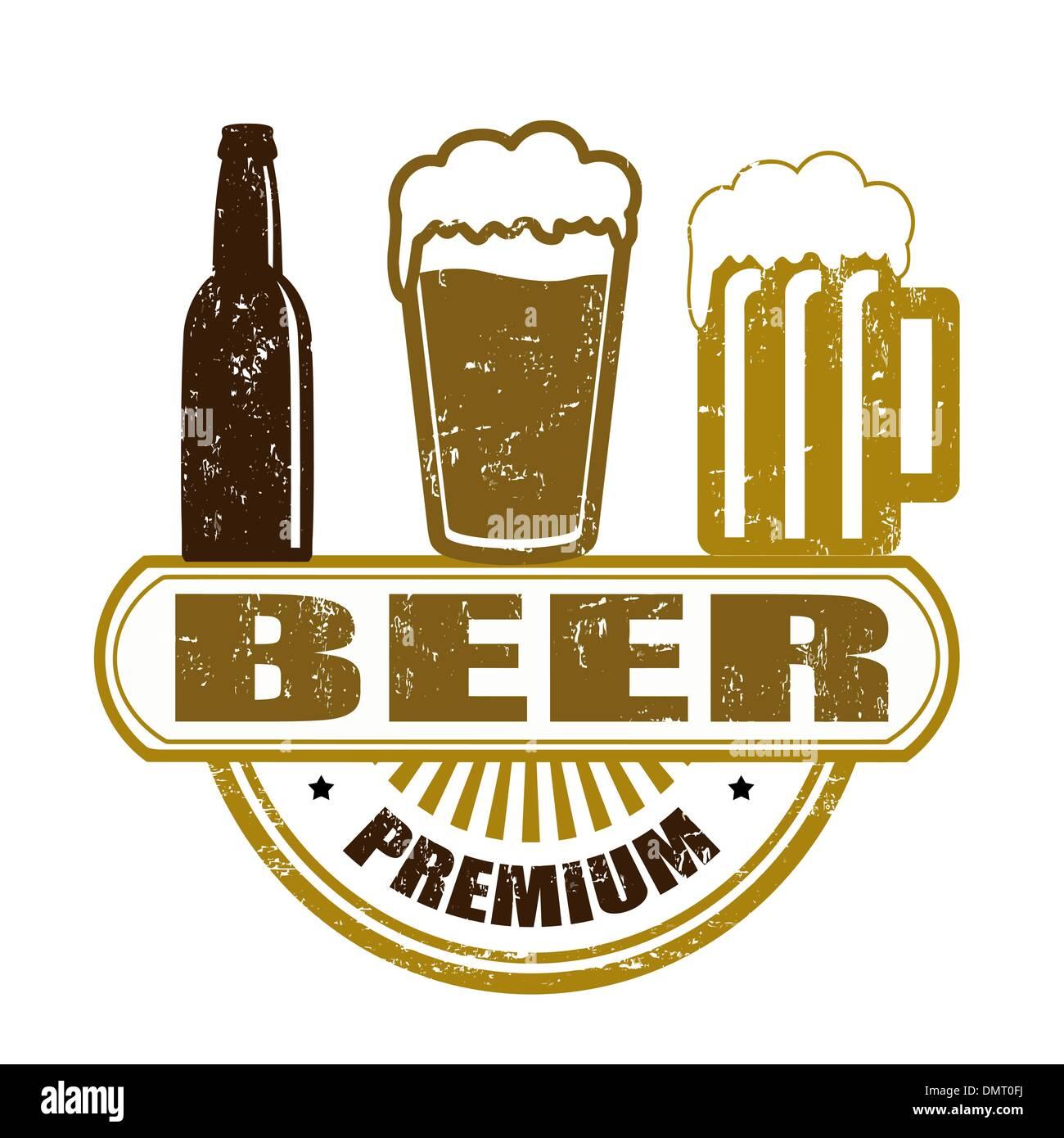 Premium beer stamp - Stock Vector
