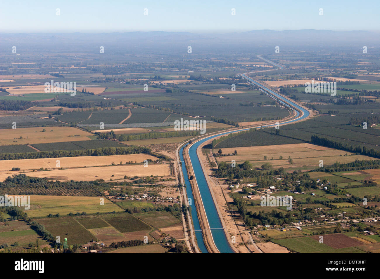irrigation canal central Chile farming - Stock Image