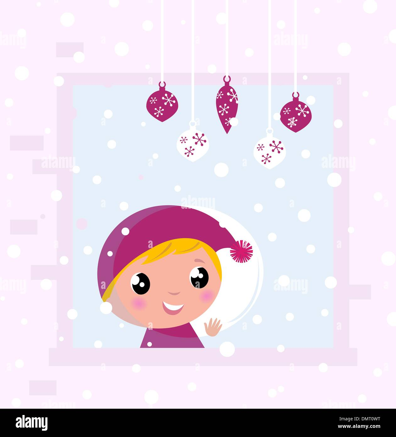 Cute Christmas Child looking on Snow through Window - Stock Vector