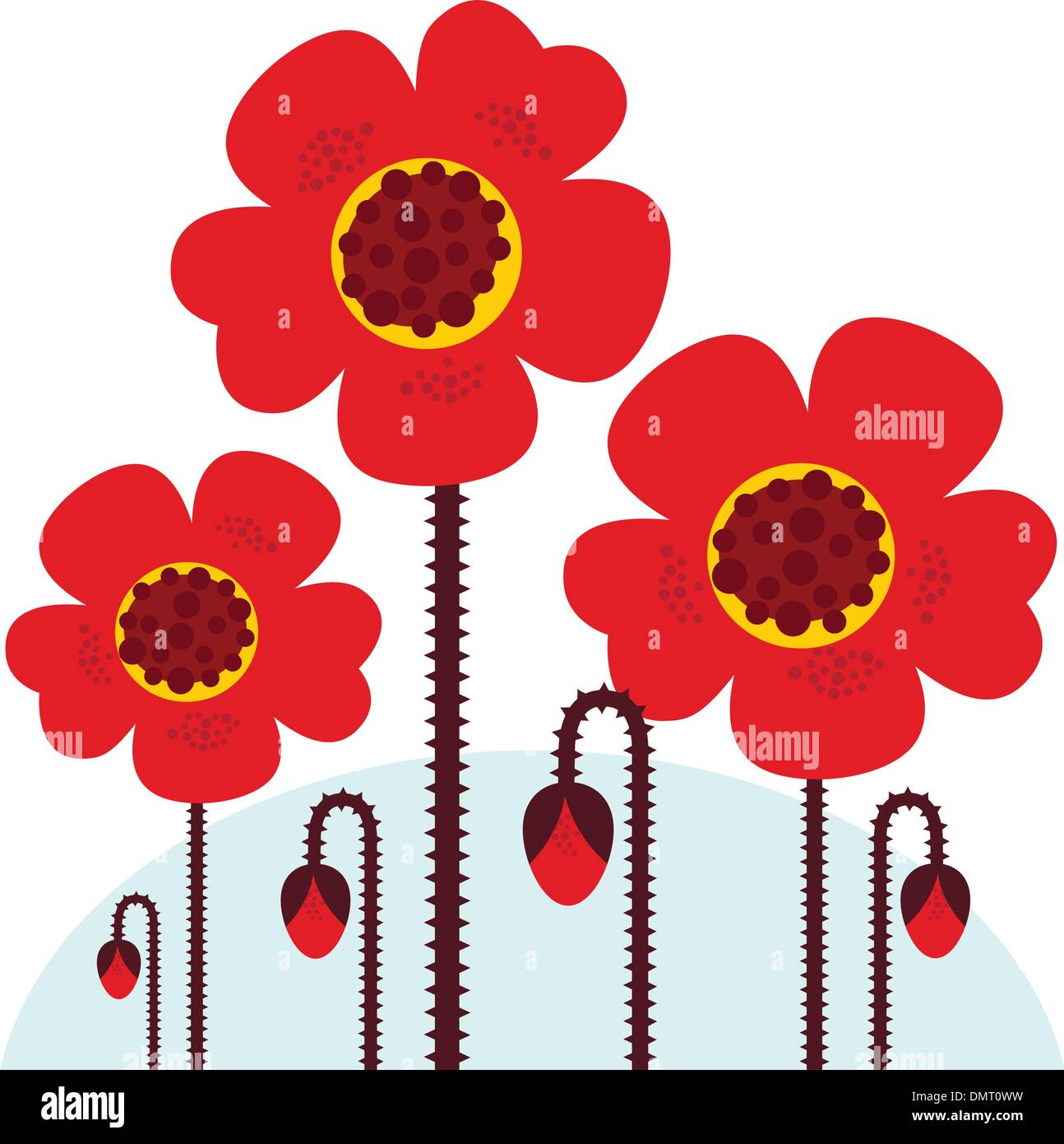 Remembrance Day symbol: red Poppy flowers isolated on white - Stock Vector
