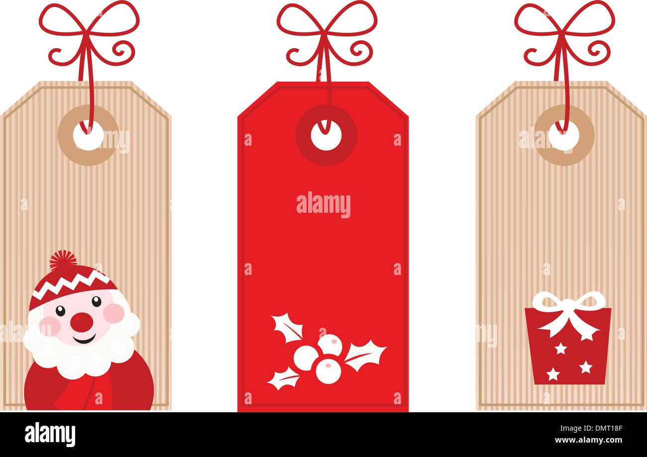 Retro Christmas Gift Tags or Labels ( red Stock Vector Art ...