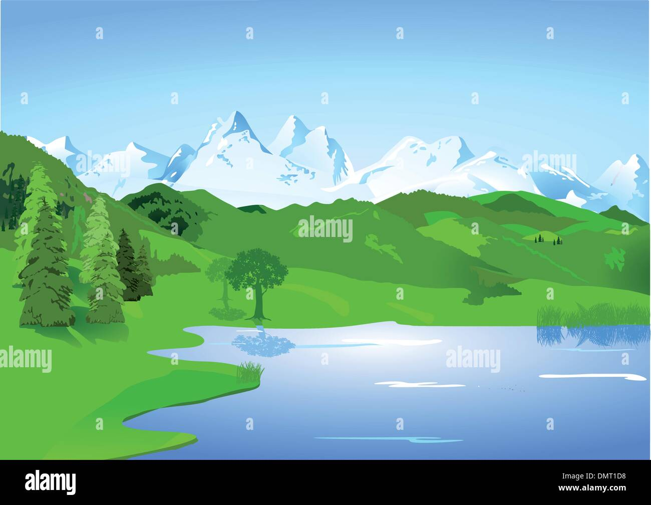 Landscape with high mountains and lake Stock Vector