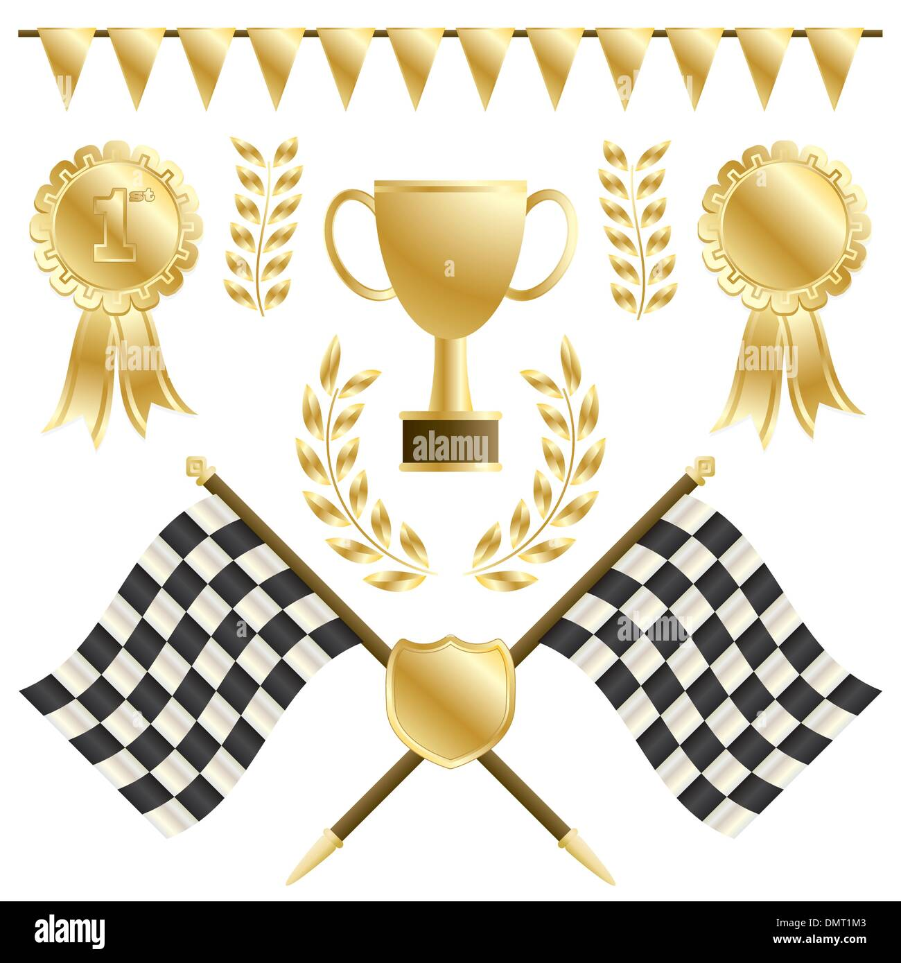 chequered flags - Stock Image