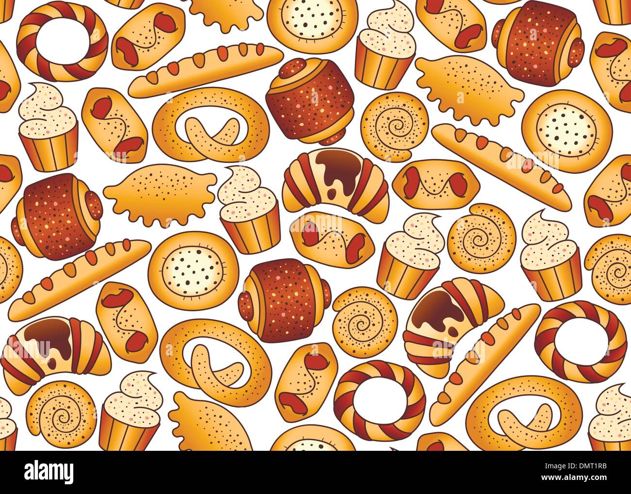 Seamless background with bakery products - Stock Vector