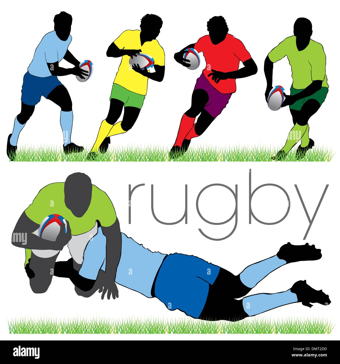 6 Rugby Players Silhouettes Set - Stock Vector