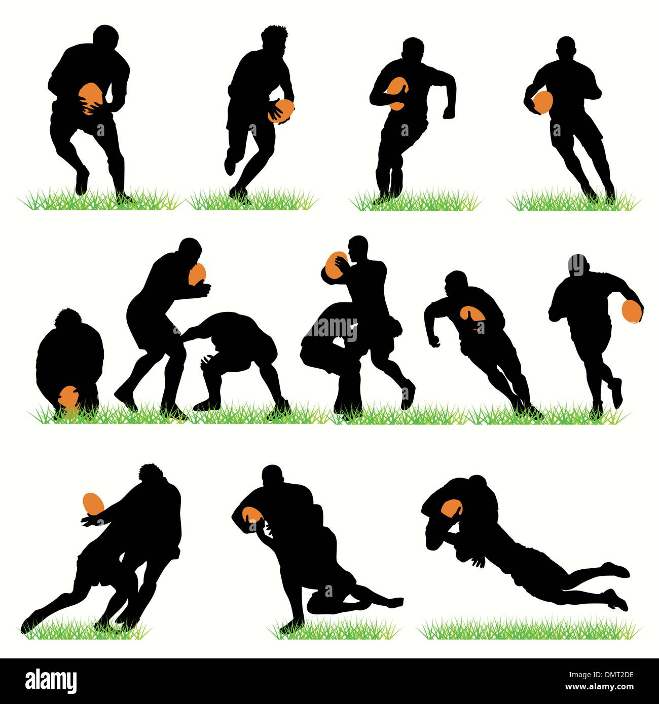 14 Rugby Players Silhouettes Set Stock Vector