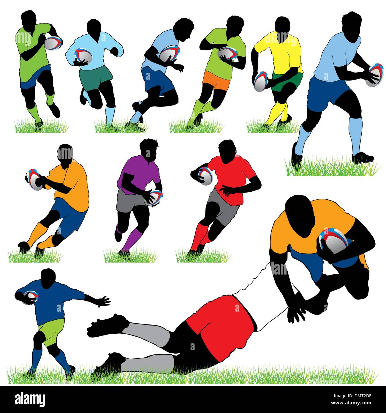 12 Rugby Players Silhouettes Set - Stock Vector