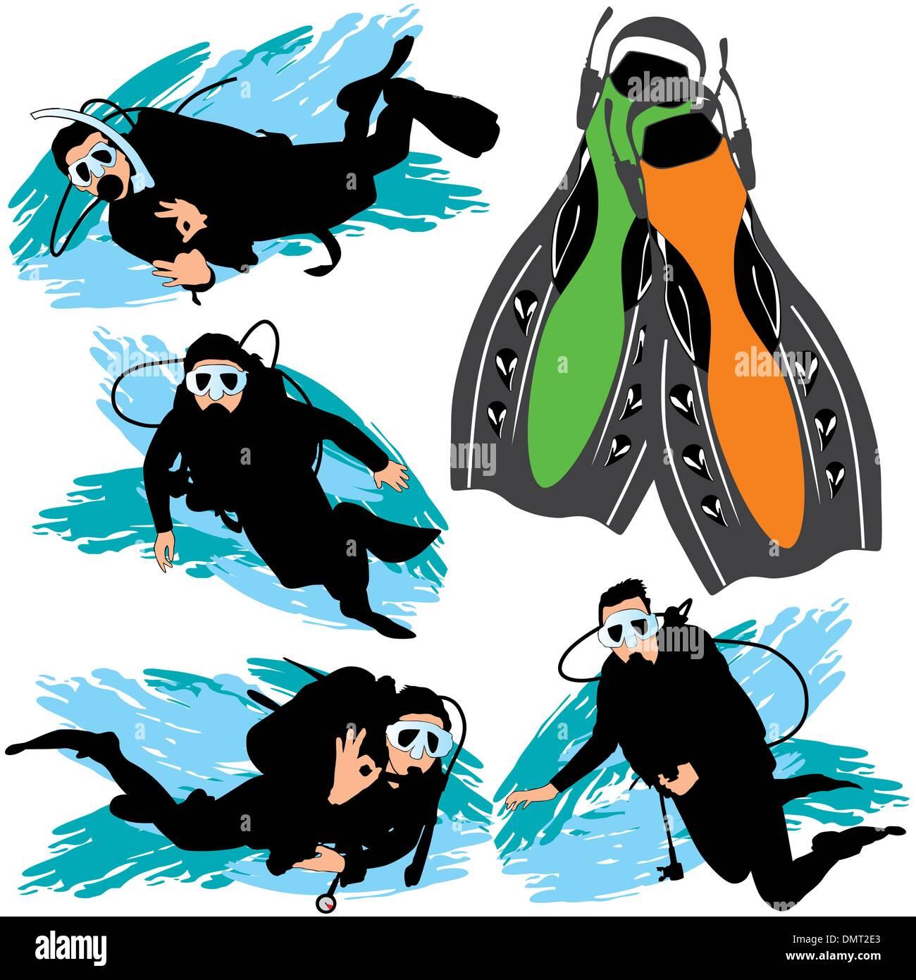 Scuba Diving Silhouettes Set - Stock Image