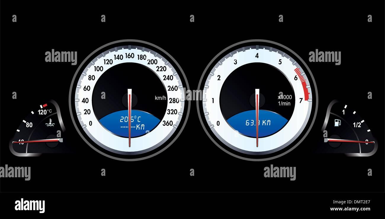 Isolated Racing Car Speedometer - Stock Image