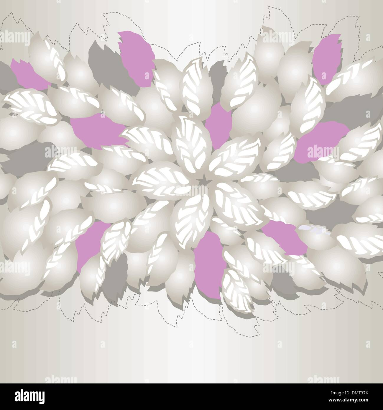 Gorgeous Silver And Pink Flowers And Leaves Book Cover Stock Vector