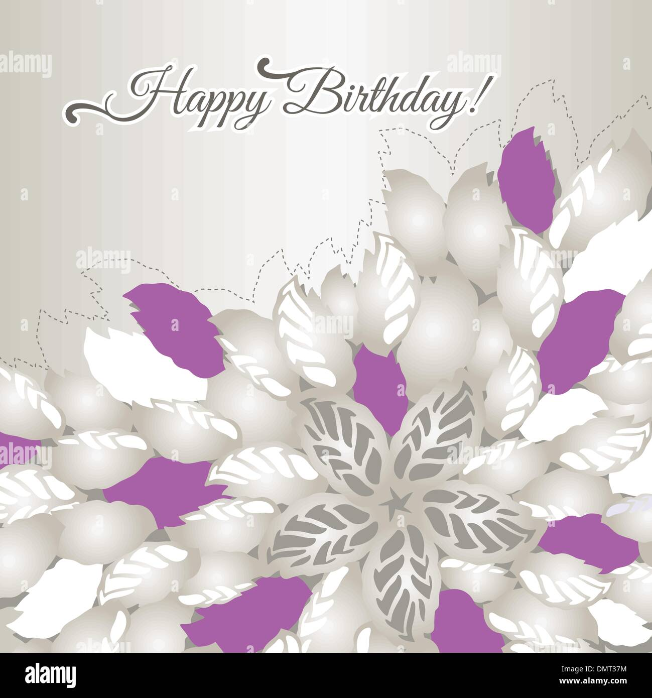 happy birthday card with pink flowers and leaves stock vector - Happy Birthday Cards Flowers