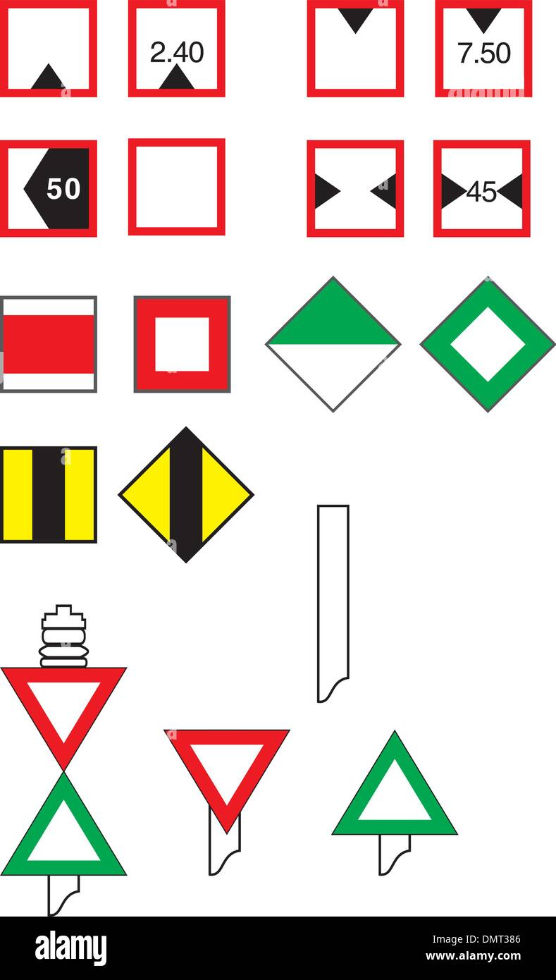 Signs Traffic River Navigation - Stock Vector