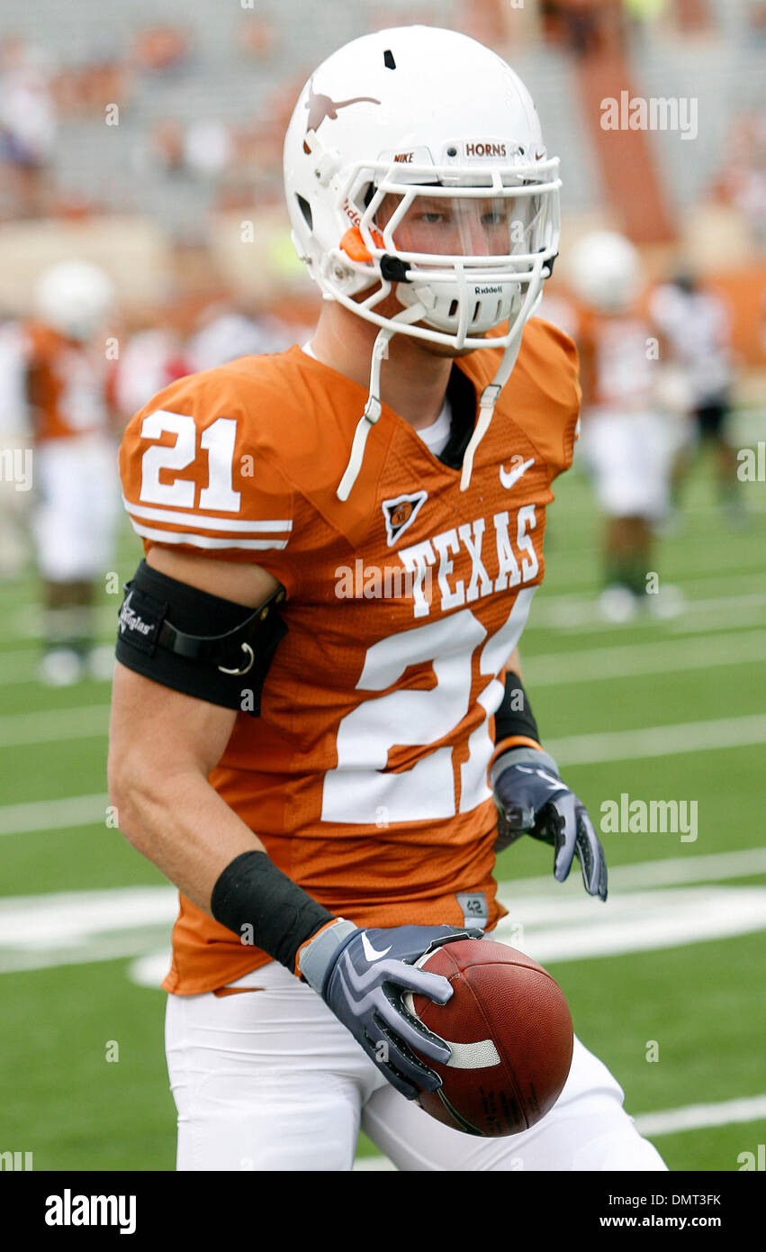 Texas safety Blake Gideon. The Texas Longhorns defeated Texas Tech Red Raiders 34-to 24 in the game played in Austin, Texas at Darrell K. Royal Memorial Stadium. With the victory Texas kept it's ranking of #2 in the country. (Credit Image: © Joe Nicola/Southcreek Global/ZUMApress.com) - Stock Image
