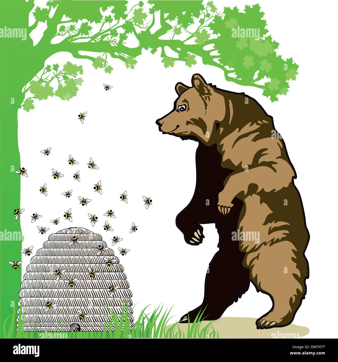 Bear with beehive - Stock Image