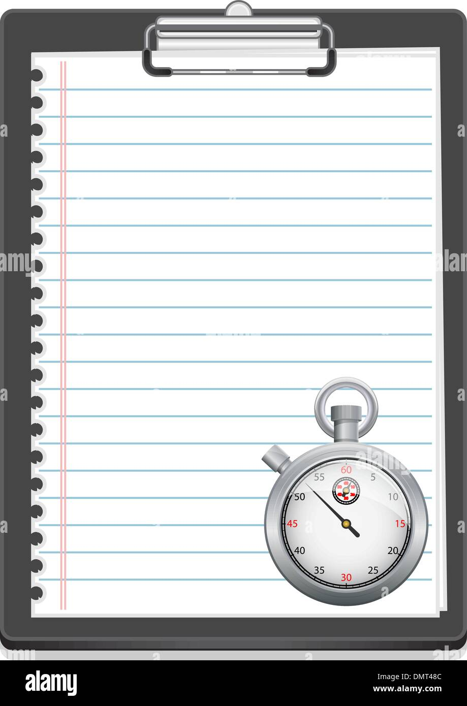 Clipboard with paper and stopwatch - Stock Image