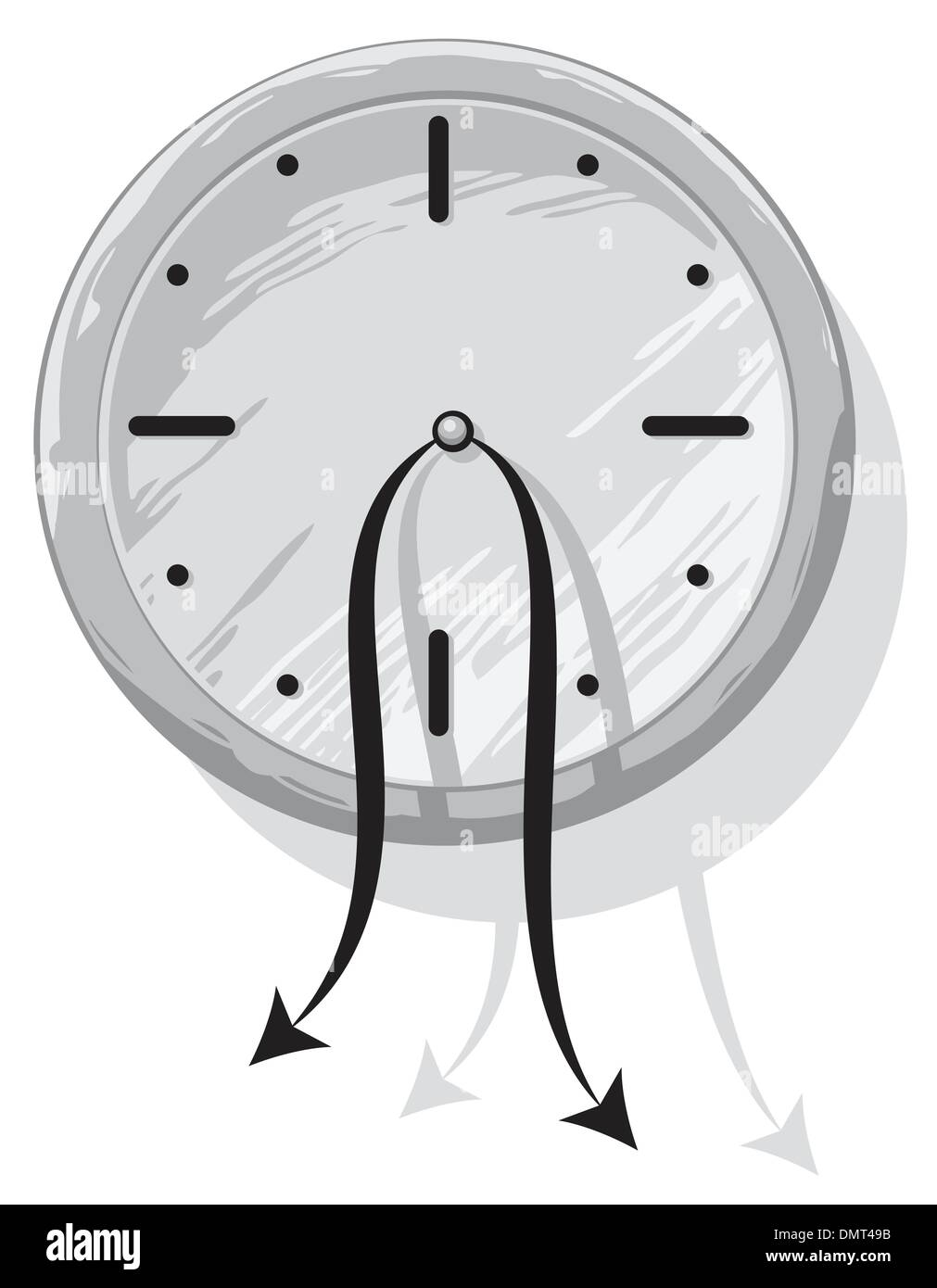 Clock with weak hanging pointers - Stock Image