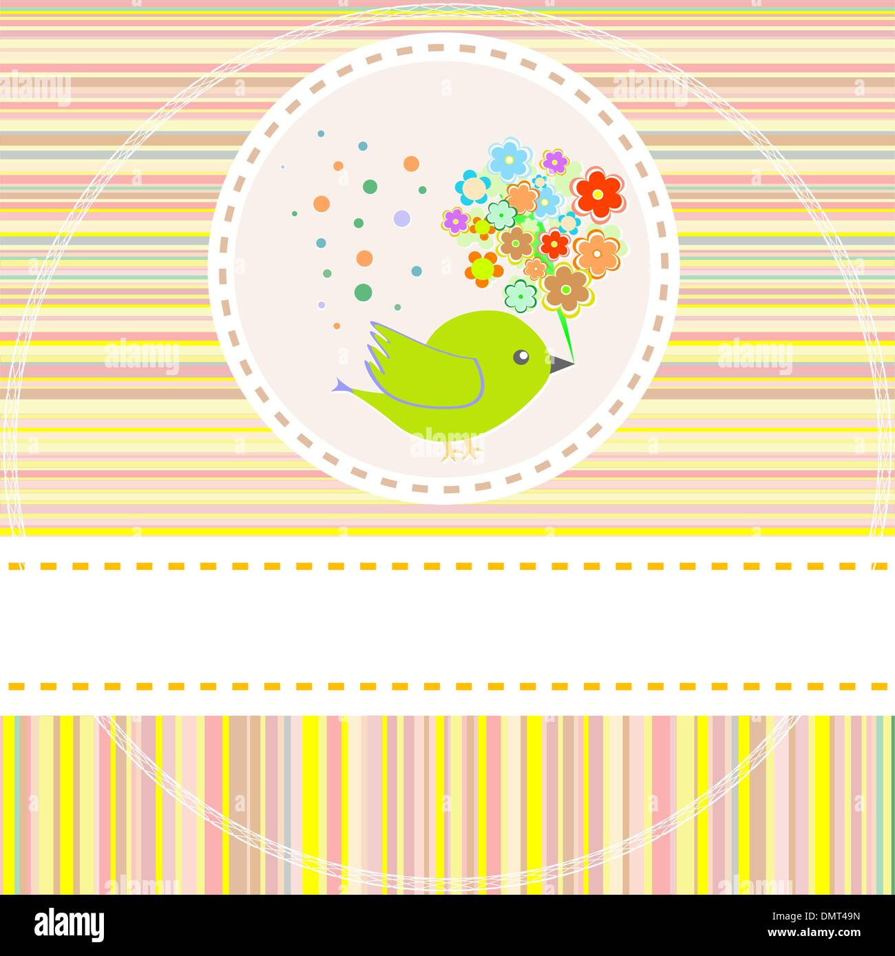Birthday Card With Cute Birds With Flowers And Gifts Vector Stock