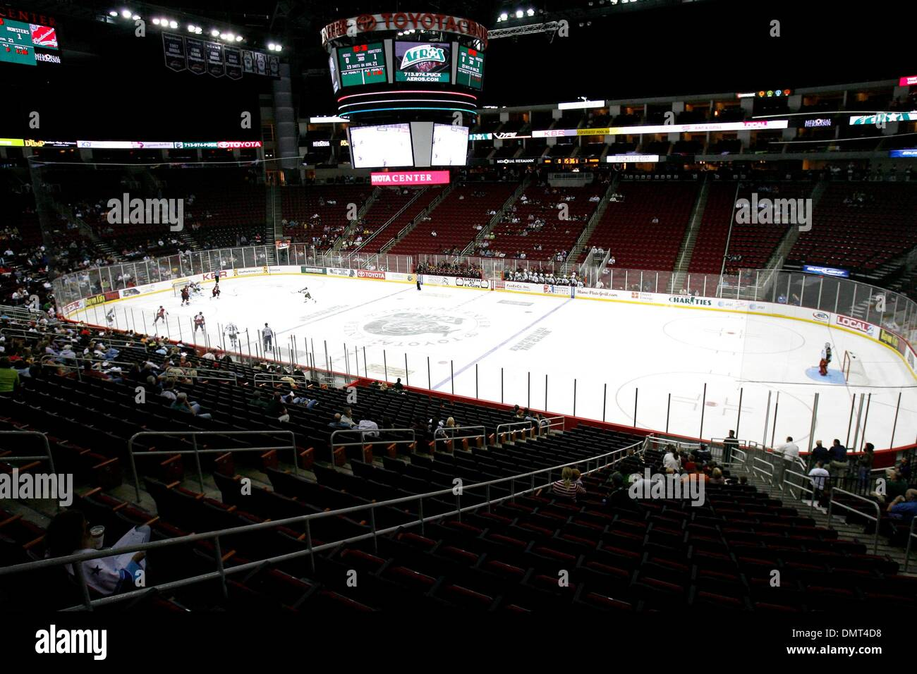 the toyota center during a houston aeros hockey game. the lake erie