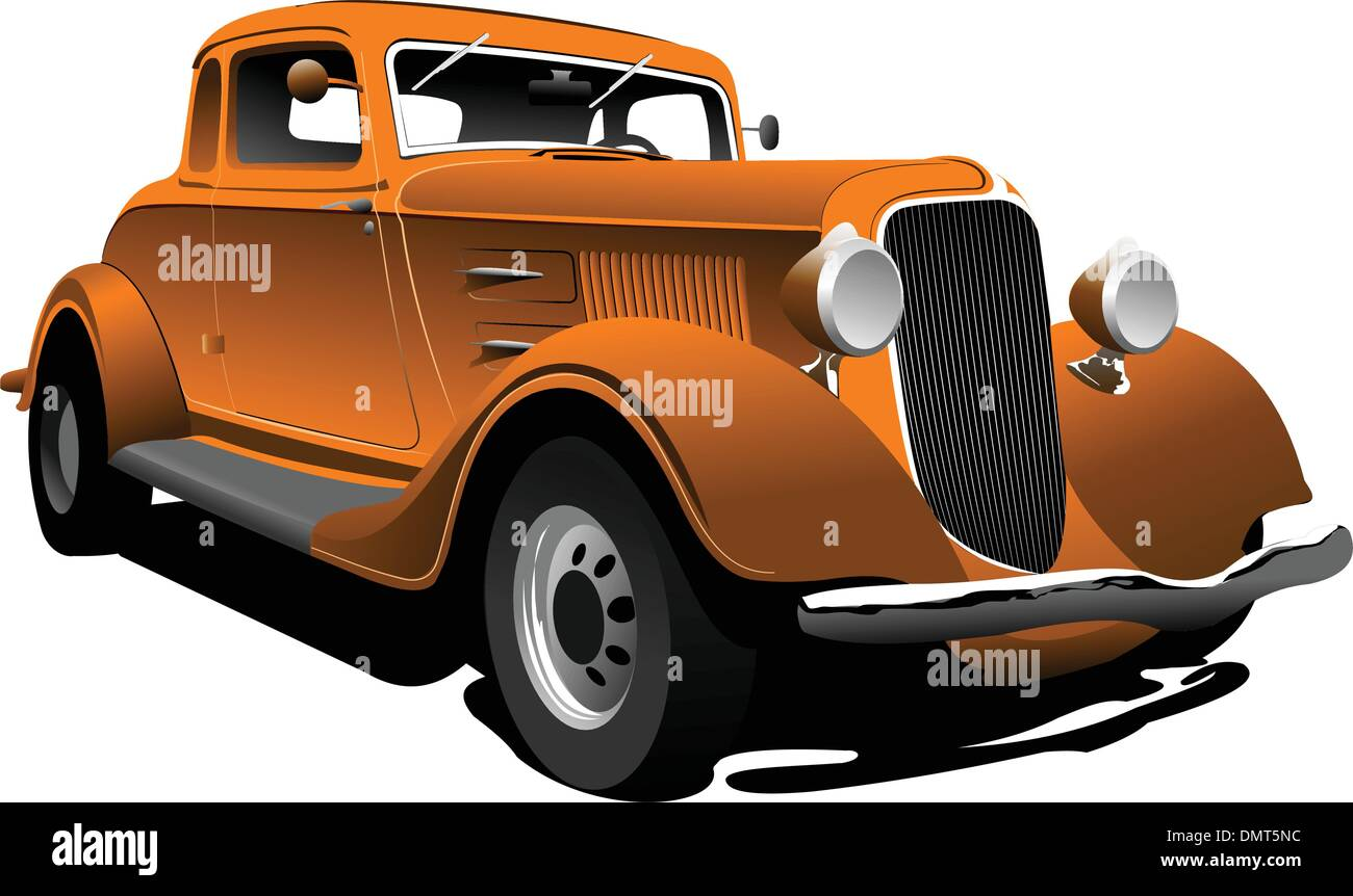 Old  orange car. Sedan. Vector illustration - Stock Vector