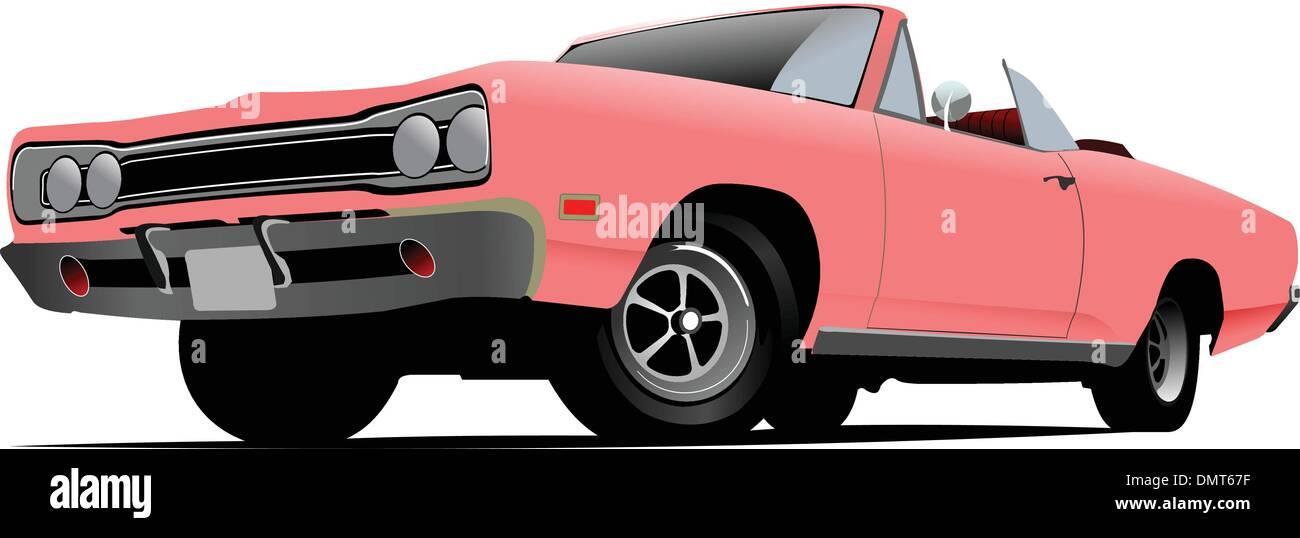 Fifty years old  cabriolet with opened roof. Vector illustration - Stock Vector