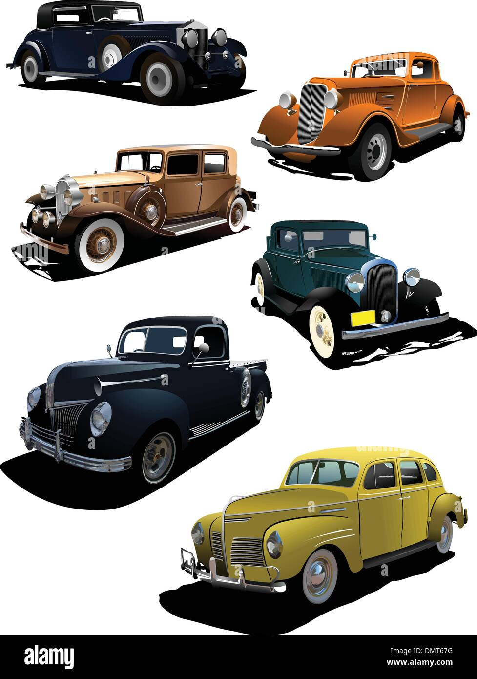 Six old  cars. Vector illustration - Stock Vector