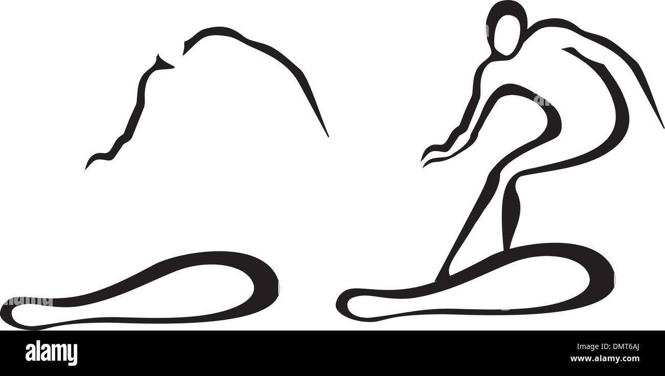 set of two snowboarding men - Stock Vector