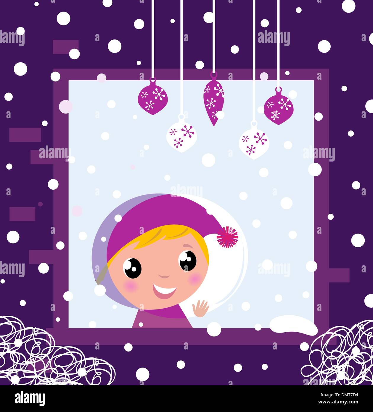 Cute little boy looking through Winter christmas Window  - Stock Vector