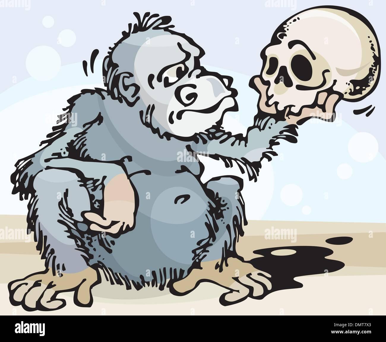 Monkey and Skull - Stock Vector
