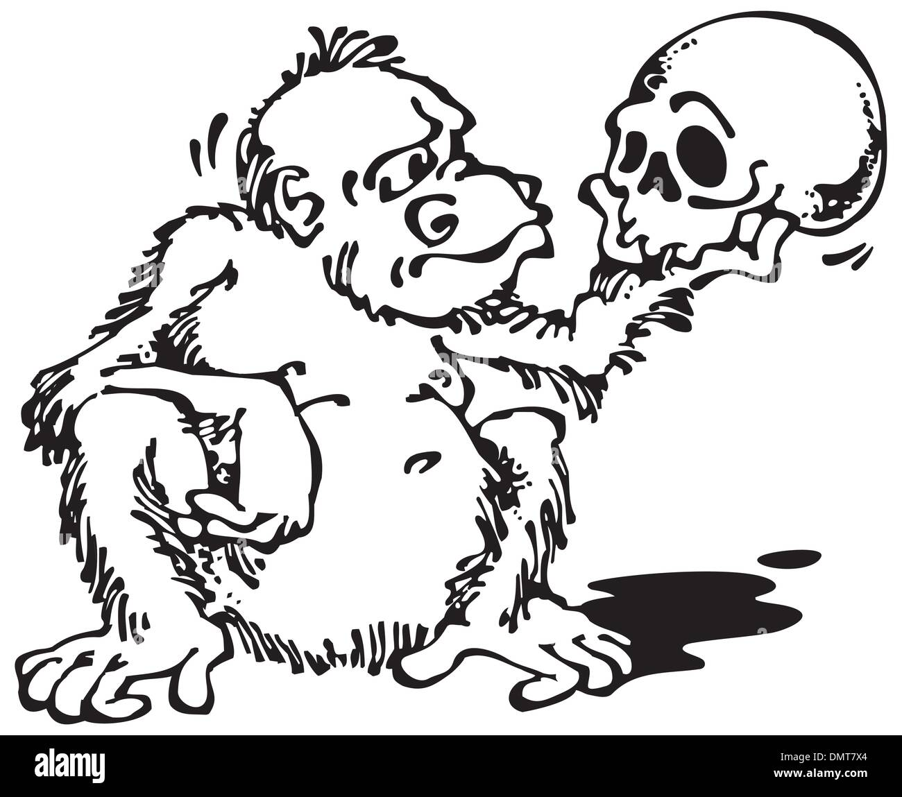 Monkey and Skull_Black - Stock Vector