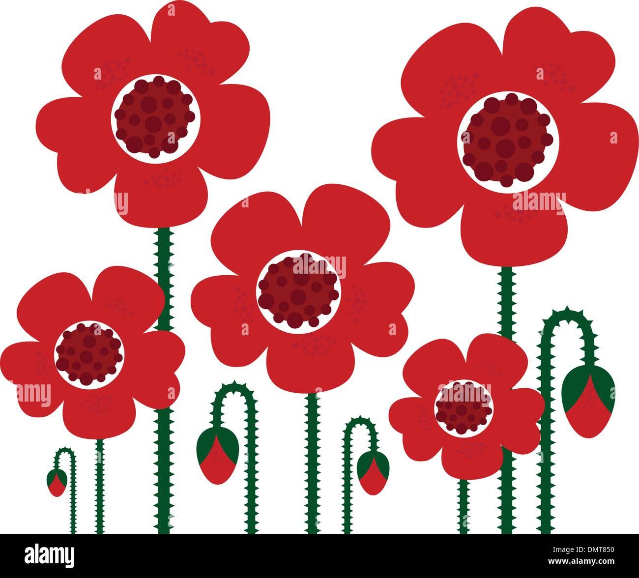 Red Poppy flowers isolated on white, retro - Stock Vector