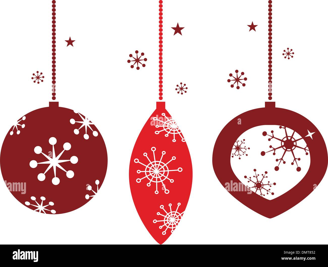 Christmas Decoration For Retro Party Isolated On White Red