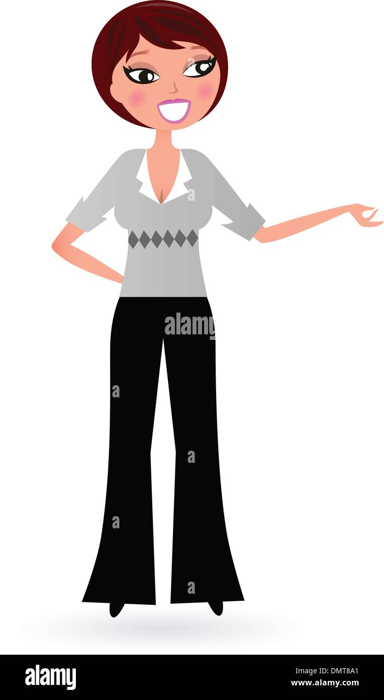 Business Woman presenting something isolated on white - Stock Vector