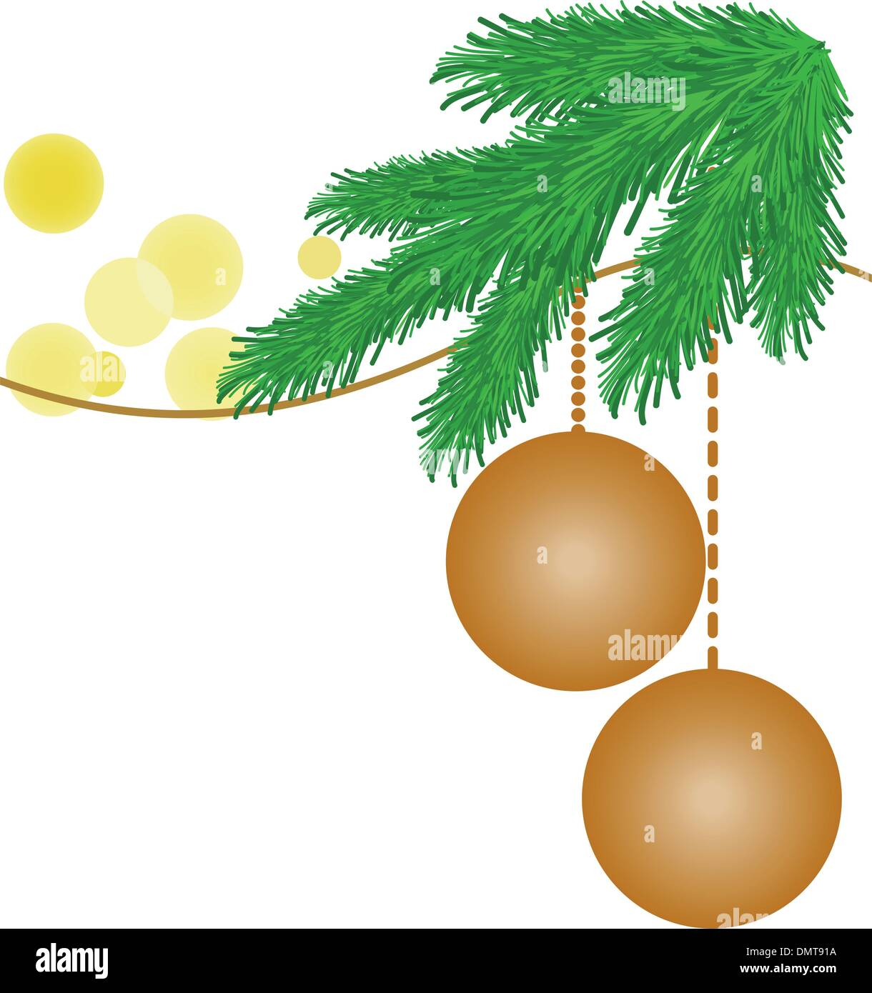spruce branches in the yellow glares - Stock Vector