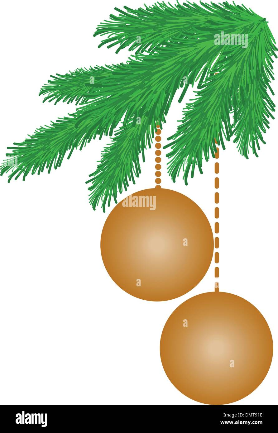 Beige background with spruce branches - Stock Vector